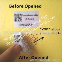 Silver Tamper Evident Warranty Labels