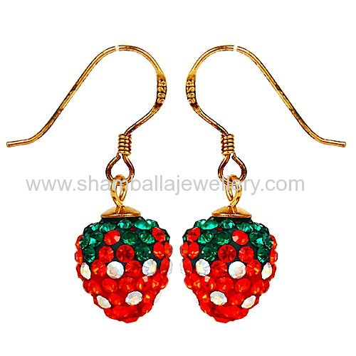 goldplated sterling silver dangle Czech Crystal Strawberry earrings