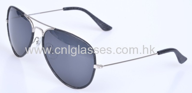 Flat top black leather sunglasses for men