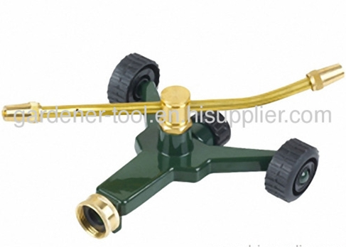 2 arm brass rotary sprinkler with zinc alloy base and wheel