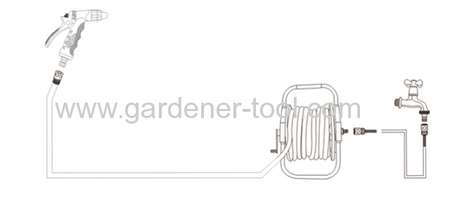 Garden Hose Reel Cart With 60M 13MM PVC Garden Hose