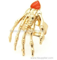 14K Gold Skeleton Hand Ring