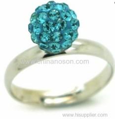 Turquoise Crystal Shamballa Ring
