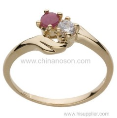 Cubic zirconia ruby ring with 18k gold plating