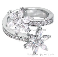 Lovely CZ flower ring
