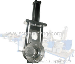 Hydraulic screen changer/melt filter for extrusion machine
