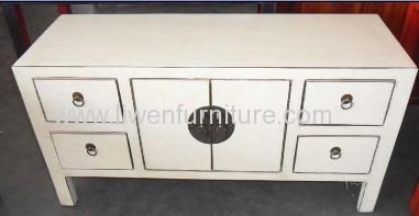 White TV cabinet 4 drawers 2 doors