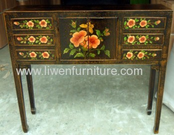 antique painted side table