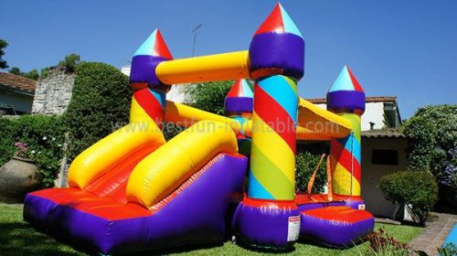 Colorful Rainbow Inflatable Bounce And Slide