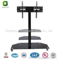 Tempered Glass TV Stand with Wheels