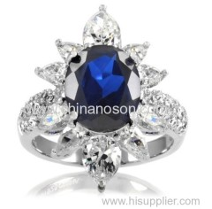 Finger ring with CZ sapphire stones
