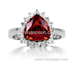 CZ jewelry Ring with Garnet