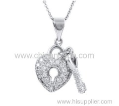 Lock necklace with heart cz pendant
