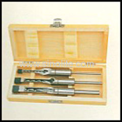 "Mortising chisel and bit 3pcs/set 8,10,12mm(1/4"", 3/8"", 1/2"", ) packed in wooden box"