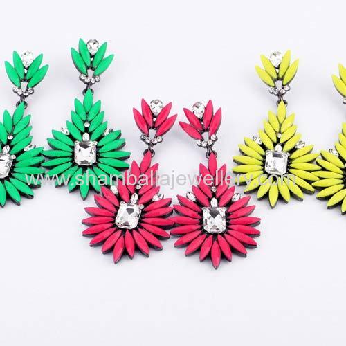 fashionable costume jewellery shourouk flower earrings for women 2013
