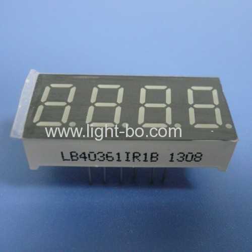 Super bright Red 4-Digit 0.36 inch ( 9.2mm ) anode 7-segment led display