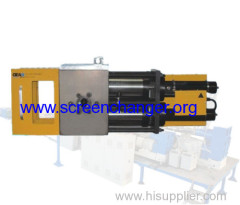 Continuous filter for plastic extruding machine-hydraulic screen changer