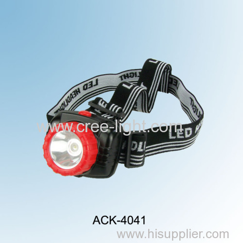 2013 New Patented For Promotion! 3 x AAA Chinese watt 1W LED High Power Plastic Headlamp ACK-4041