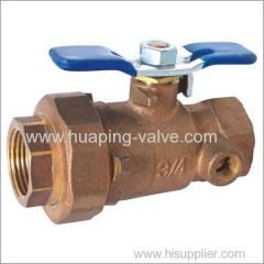 Single Union End Bronze Ball Valve with Waste Drain