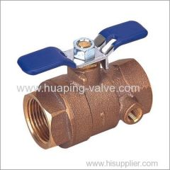 Bronze Ball Valve with Waste Drain Threaded