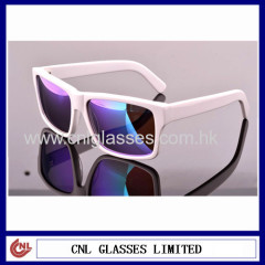 White sunglasses with purple lenses