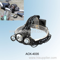 15W CREE XM-L T6 & 2 * CREE XP-E R2 Rechargeable Ultra Power Aluminum Bicycle Light ACK-4035