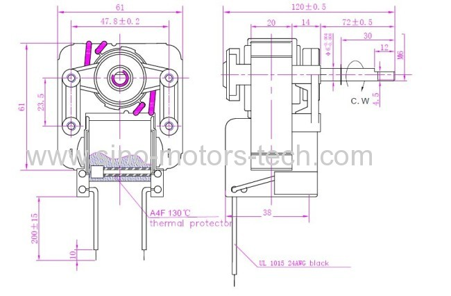 The motor for oven / synchronous motor YJ61--20
