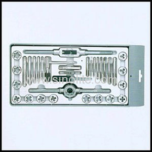Metric & inch tap and die set packed in plastic case 33pcs