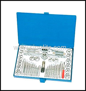 Inch tap and die set in metal case 40pcs