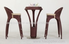wicker bar table and chair