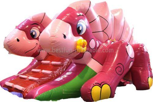 Pink Blow Up Single Lane Dino Slide