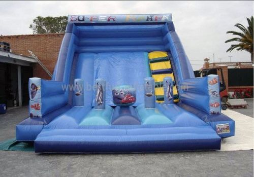 Blue Super Rampa Inflatable Slide Jumper Combo