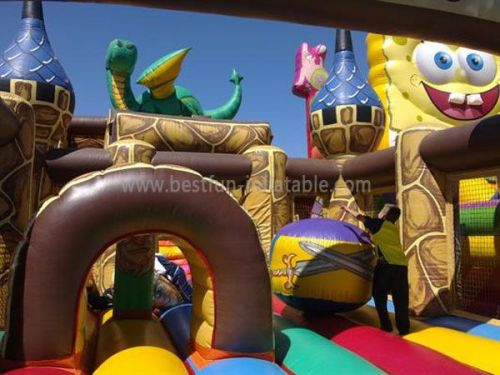 Full Printing Dragon Inflatable Castle And Slide