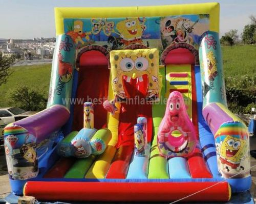 Commercial Inflatable Spongebob Wet Dry Slide For Children