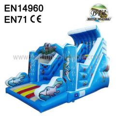 Blue Wavy Inflatable Slide For Sale