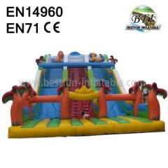 Large Inflatable Jumping Slides With Palm Tree