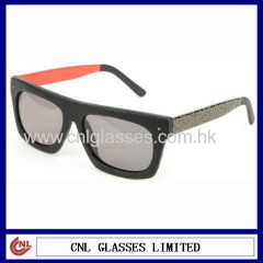Top end genuine leather sunglasses with custom design two tone temples