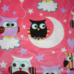 The owl printed short plush fabric