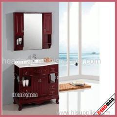 solid wood floor mounted bathroom mirror with mirror cabinet