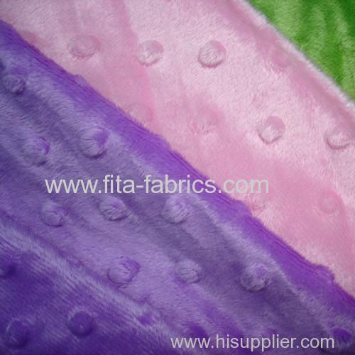 100% polyester dyed embossing minky fleece
