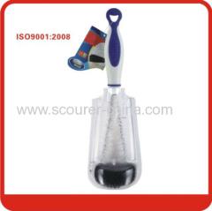 Certificated Multifunctional plastic bottle brush with Blue+white+black