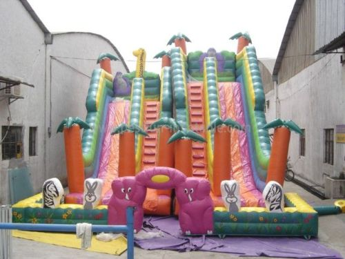 Colorful For Jungle Animal World Inflatable Slide