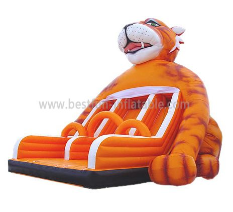 Cute Inflatable Tiger Slide For Kids