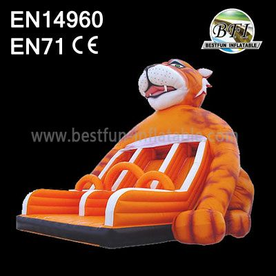 Double Lane Inflatable Tiger Slide