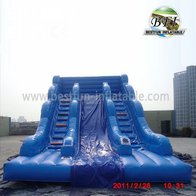 Blue Double Climbing Inflatable Slide Game