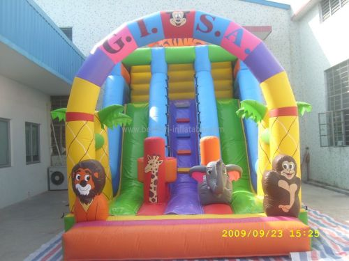 Party Slide Inflatable With Jungle Animal Cartoons For Rental
