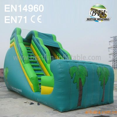 Green Inflatable Jungle Slide For Business Rentals
