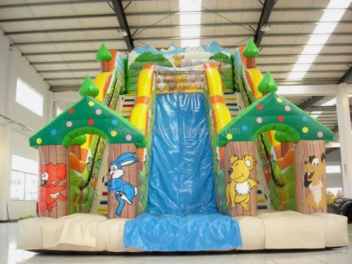 Big Inflatable Forest Double Lane Slides