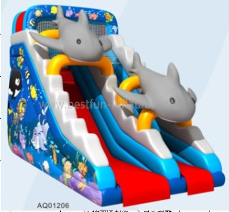 New Inflatable Dolphin Cartoon Slide