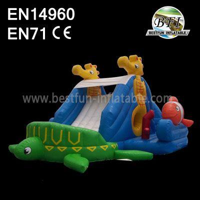 Kids Inflatable Tortoise Slide Island